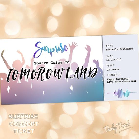 Dance Music Gig Ticket Concert Ticket Surprise Gift Ticket Etsy