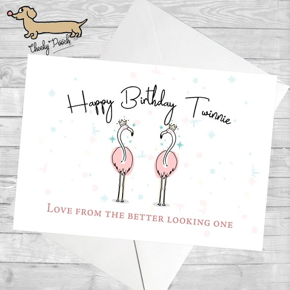 Flamingo Card Twin Birthday Card For Twin Twinning Etsy