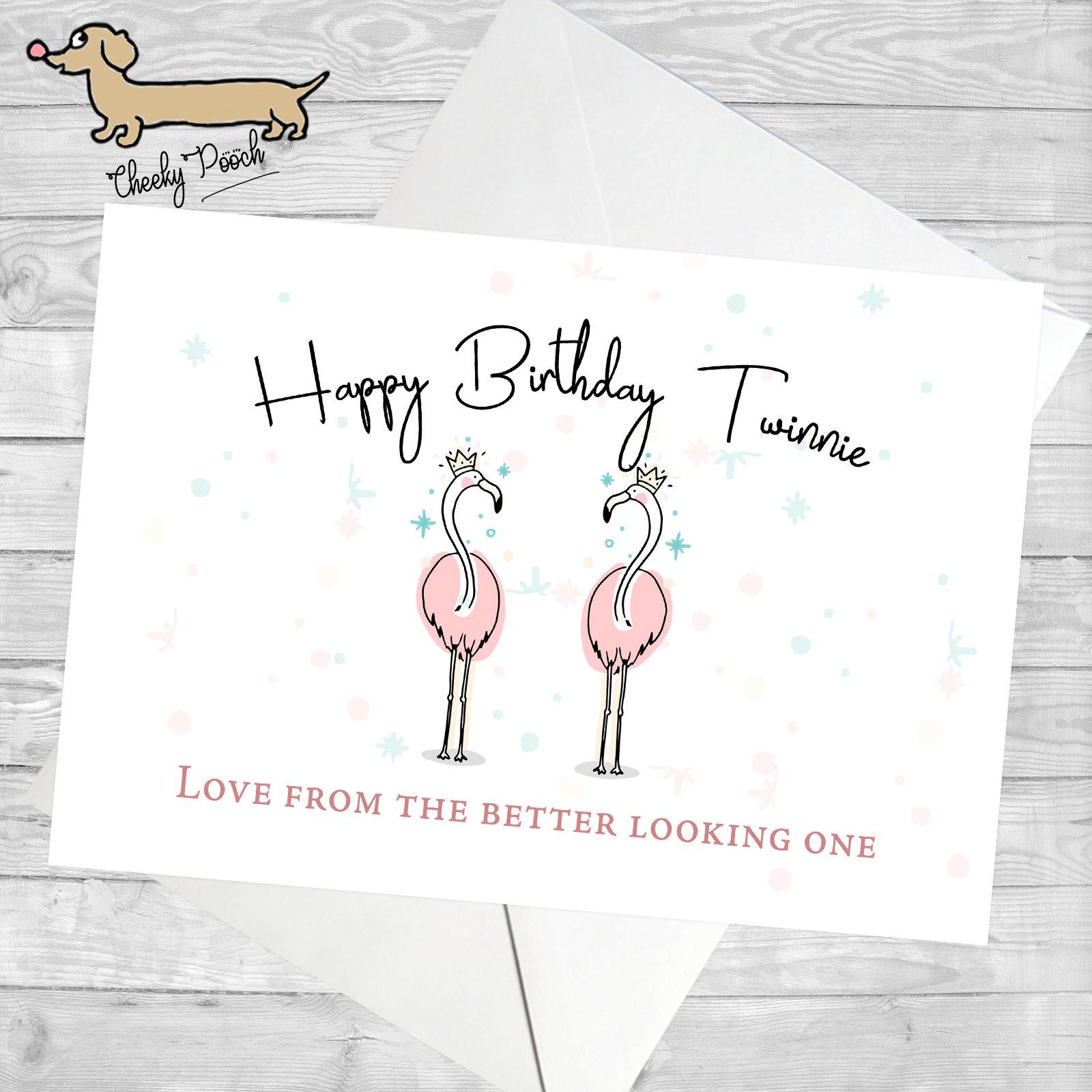 Flamingo Card Twin Birthday For Twinning