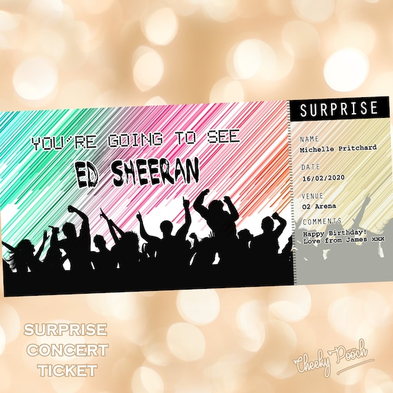 Personalised ED SHEERAN Concert Tour Show Ticket Wallet Card Birthday Christmas