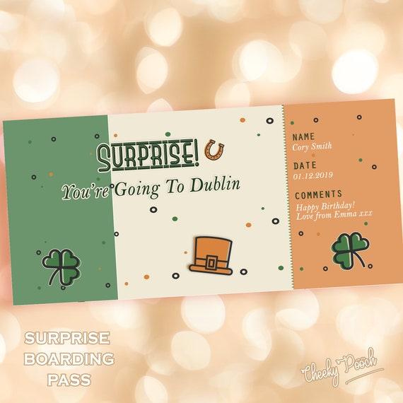 BIRTHDAY Gift Surprise Trip Dublin break Boarding Card | Etsy