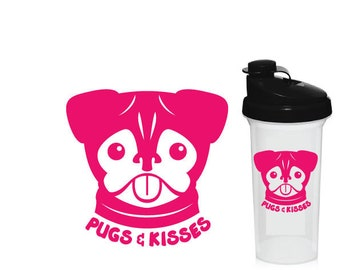 pugs and kisses decal custom shaker bottle pug gift pug lover car decal custom water bottle pug dog sticker dog lover pug dog lover