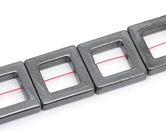 Set of 2 square 24x24mm genuine Hematite beads