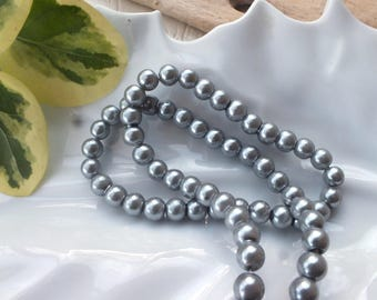 Set of 10 beads glass Pearl 6mm grey