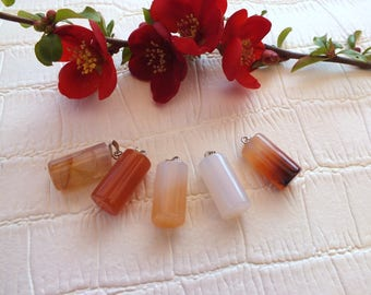 Very nice pendant natural stone CARNELIAN cylinder