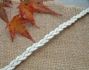 50cm width 12mm white braided leather cord