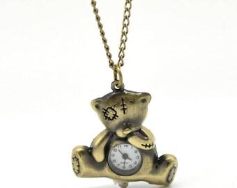 Adorable teddy bear watch antique Bronze color pendant + chain 80cm