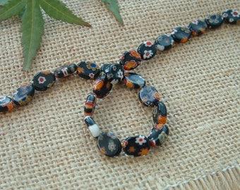 Set of 5 black MILLEFIORI beads shaped oval 8X10mm