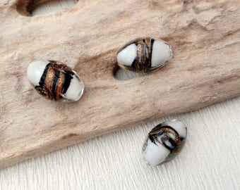 Set of 2 olive 11x16mm white MURANO style beads