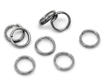 Set of 10g 6mm GUNMETAL rings of dot (120 pcs)
