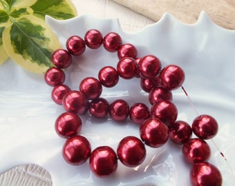 Set of 10 glass beads 10mm color BORDEAUX red Pearl