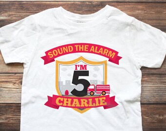 Fire Truck Birthday Shirt - Personalized Boy Birthday Shirt - FireTruck Birthday Shirt - Firetruck Birthday Raglan Shirt - Fire truck Shirt