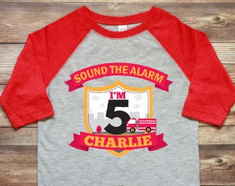 Firetruck Birthday Shirt - Personalized Boy Birthday Shirt - Fire Truck Birthday Shirt - Custom Birthday Shirt - Red Firetruck Shirt