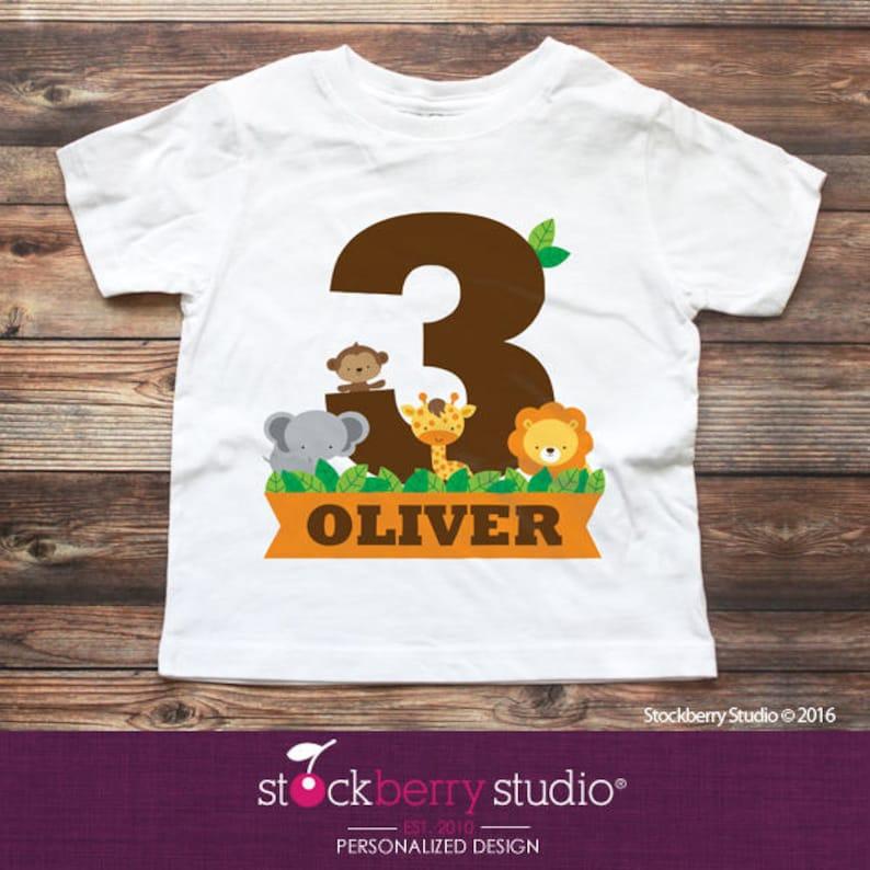 3 Year Old Birthday Shirts Jungle Shirt