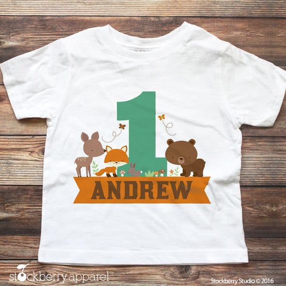 Woodland 1st Birthday Shirt Personalized