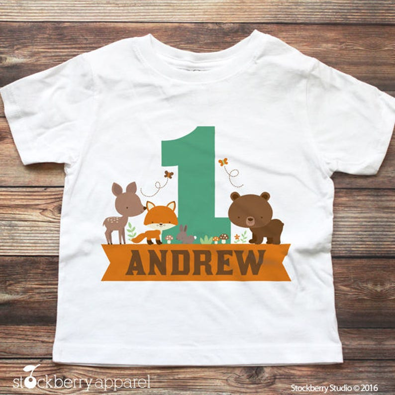 Woodland 1st Birthday Shirt Personalized