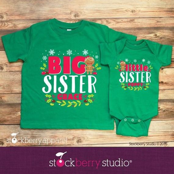 6f9956fa Christmas Big Sister Little Sister Shirt Gingerbread | Etsy
