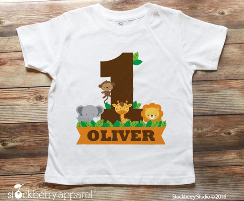 Safari Jungle Birthday Shirt Personalized 1st
