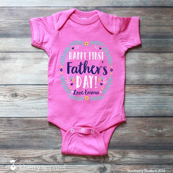 Happy Father/'s Day Embroidered Baby T-Shirt Gift Personalised Fathers Dad First