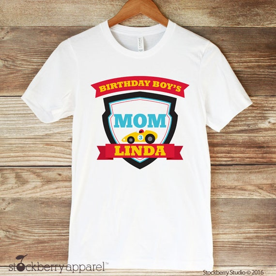 Race Car Mom Of The Birthday Boy Shirt