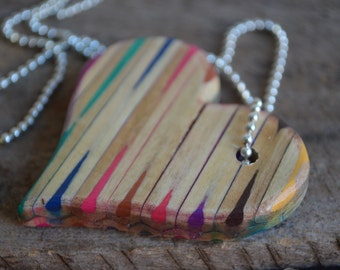 Stripe Heart Pendant Necklace