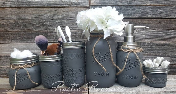 6 PIECE RUSTIC MASON JAR BATHROOM SET