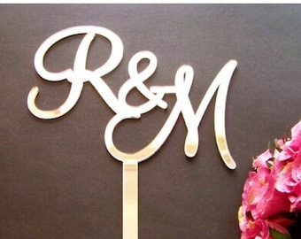 Initial Wedding Cake Topper, Initial Cake Topper, Engagement, Gold,Silver Mirror, Black or White, Acrylic by VividLaser