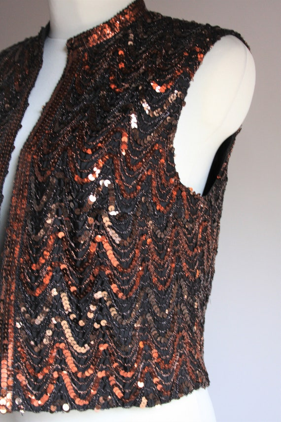 Lucie Linden vintage 1990s sequin beaded brown pa… - image 3