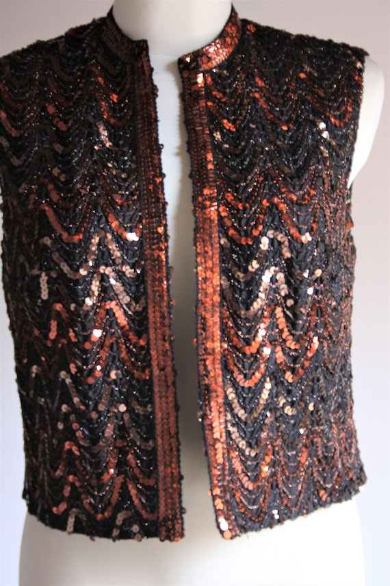 Lucie Linden vintage 1990s sequin beaded brown pa… - image 2