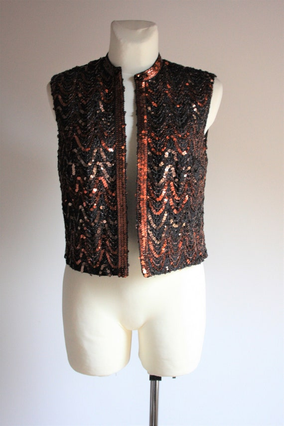 Lucie Linden vintage 1990s sequin beaded brown pa… - image 1