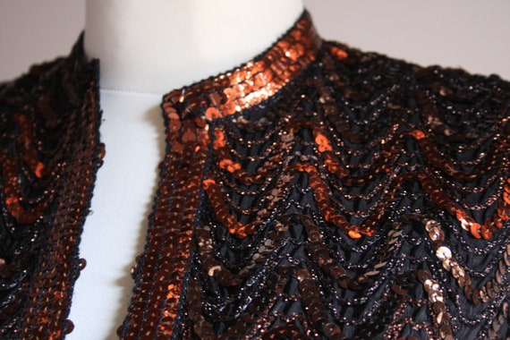 Lucie Linden vintage 1990s sequin beaded brown pa… - image 4