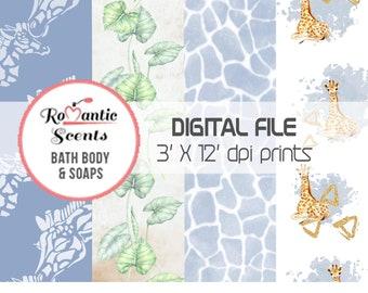 Baby Giraffe Sticker, Printable Label, Soap Wrapper, Instant Download, Giraffe Print, Digital Collage Sheet, 4 Patterns, 3x12 Prints