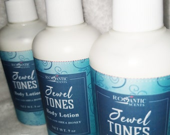Jewel Tones Lotion ROMANTIC SCENTS, Soothing Shea Butter and Honey Emollients, Natural Skincare, Hand Cream for Dry Skin, 1 Bottle
