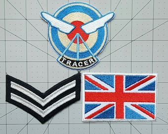 Tracer Set Overwatch Inspired Embroidered Cosplay Costume Set - Sew-on or Iron-On patches