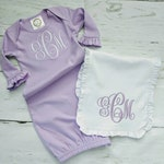 Baby Girls Monogram Ruffle Newborn Gown | Baby Girls Monogram Coming Home Outfit | Coming Home Outfit