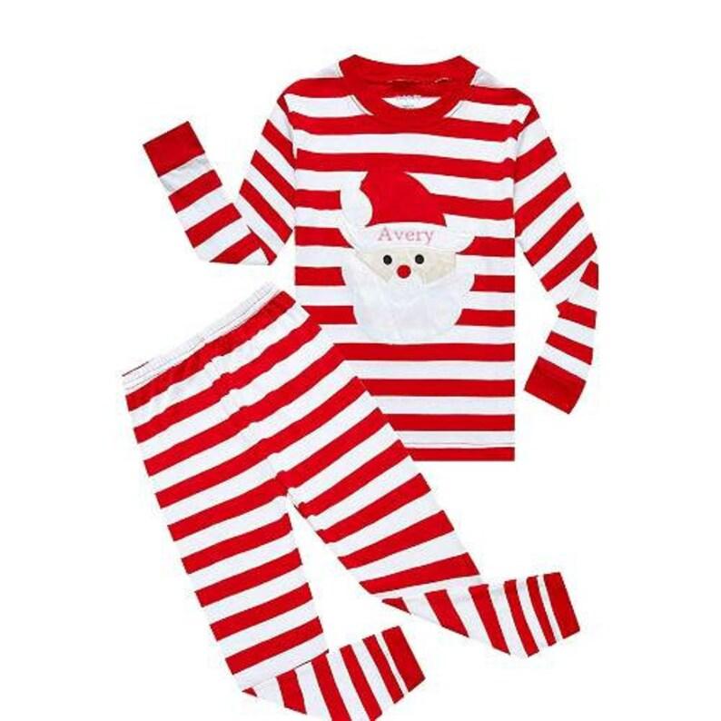 Kids Christmas Pajamas  Kids Santa Pajamas  Personalized image 0