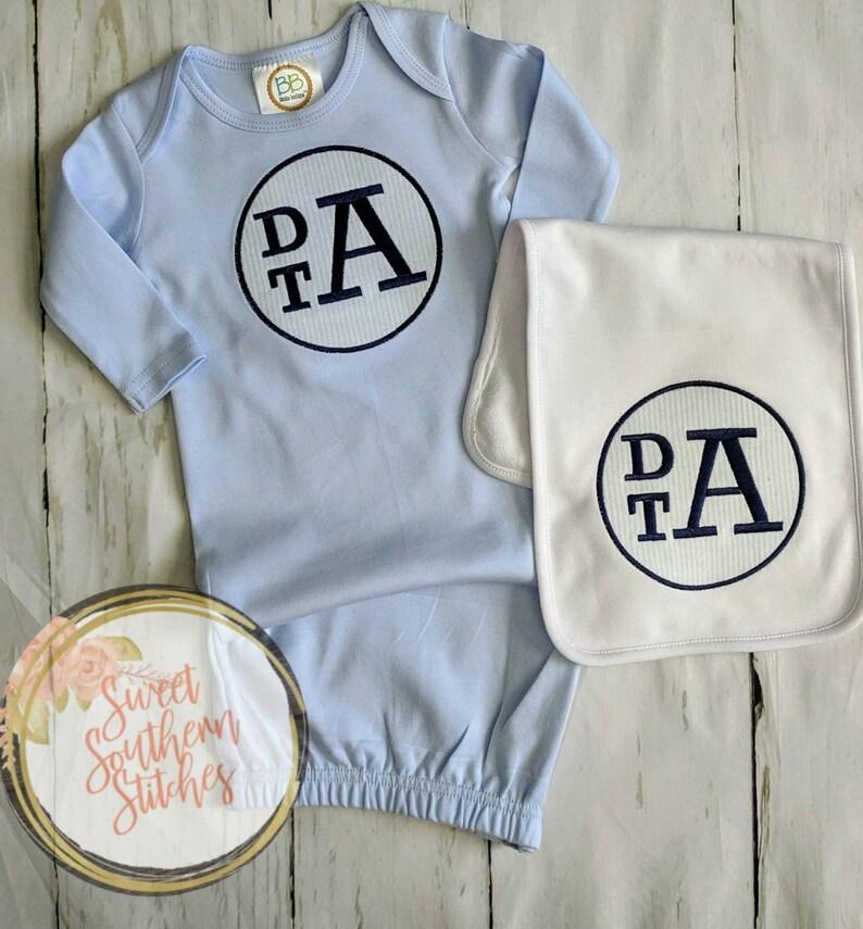 Baby Boy Monogram Newborn Gown  Baby Boy Monogram Coming Home image 0