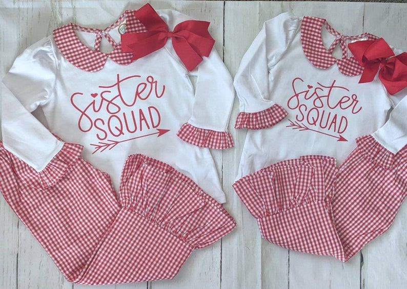 Sister Squad Outfit  Gingham Girls Outfit  Girls Ruffle image 0