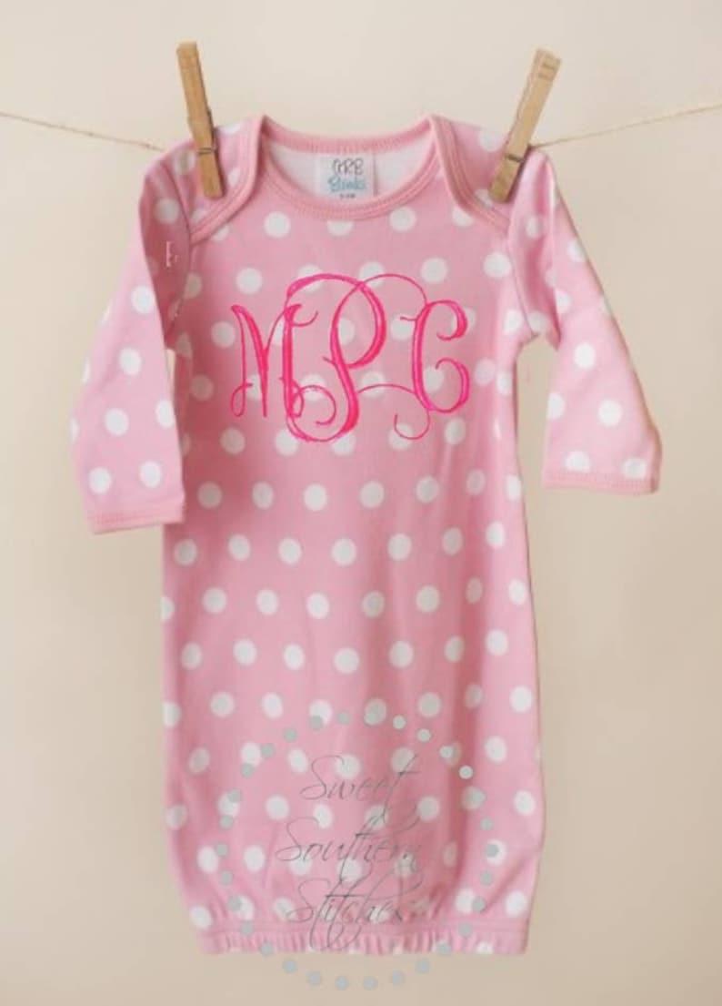 Baby Girls Monogram Newborn Gown  Baby Girls Monogram Coming image 0