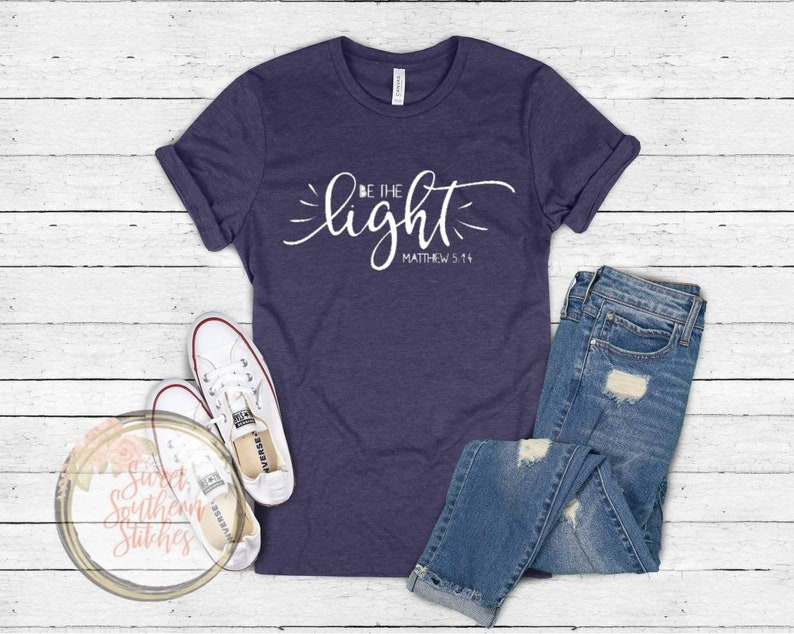 Be The Light Tee  Scripture Tee  Adult Graphic Tee  Adult image 0