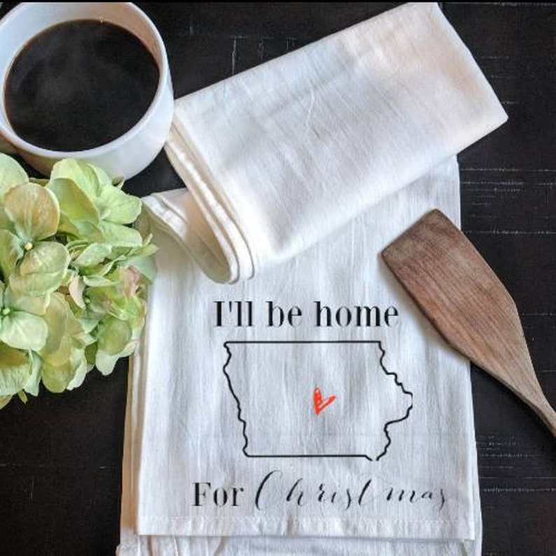 I'll Be Home For Christmas State Tea Towel  Home State image 0