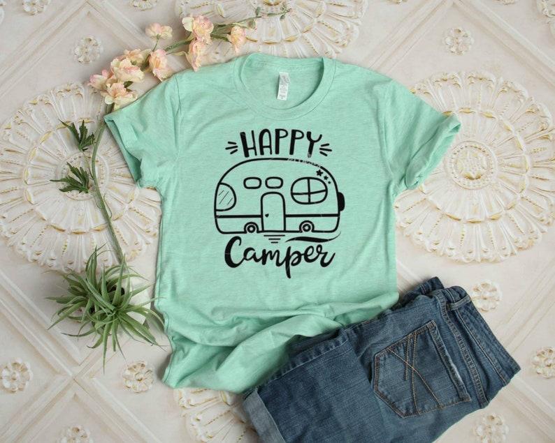 Happy Camper T-shirt  Camper T-shirt  Camping T-shirt image 0
