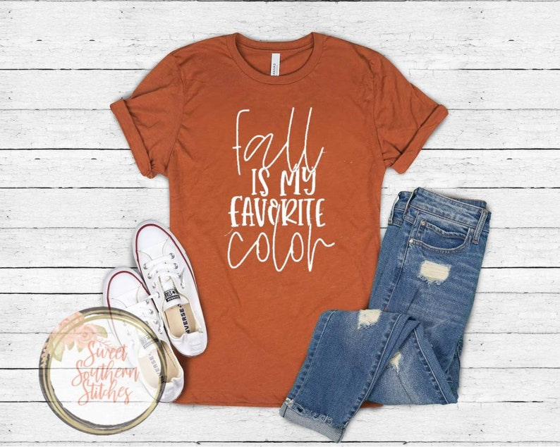 Fall Is My Favorite Color Tee  Adult Fall Tee  Fall Graphic image 0