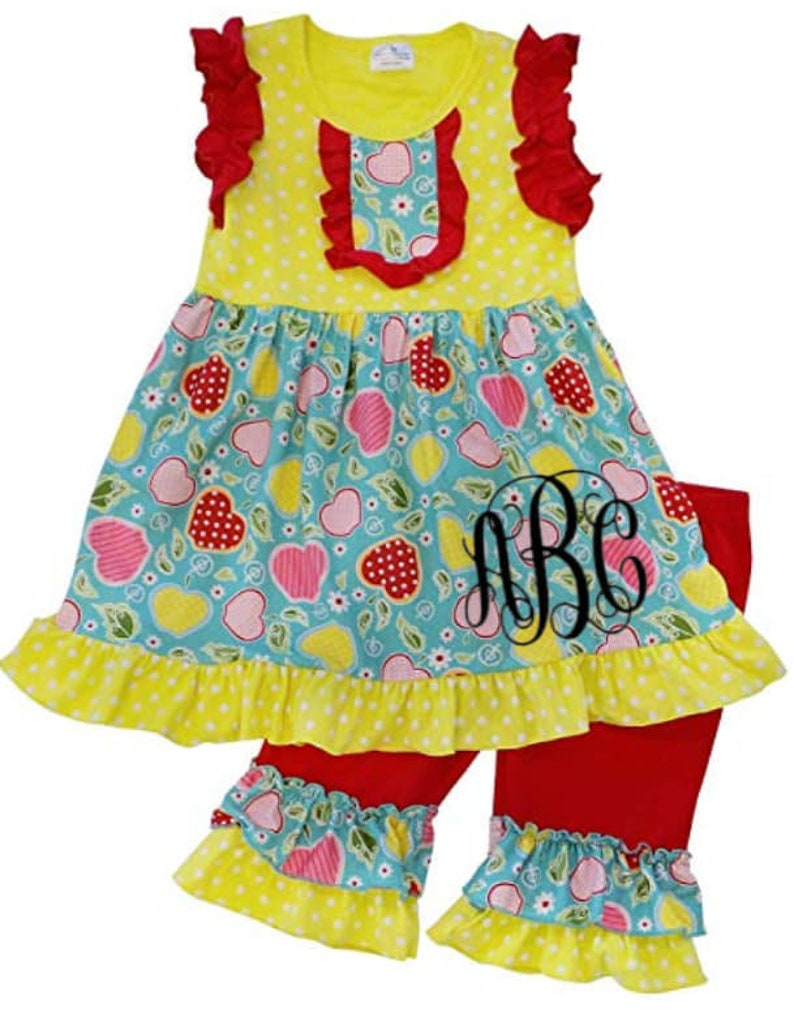 Girls Apple Back To School Outfit I Girls Ruffle Back To image 0