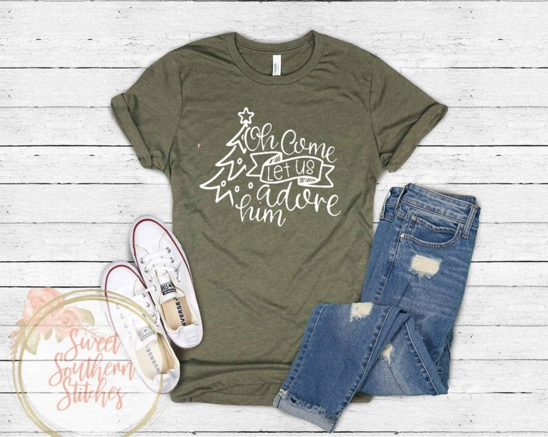 Oh Come Let Us Adore Him Tee  Religious Christmas Tee  image 0