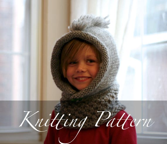 Knitting Pattern The Wee Rocker Child Hooded Scarf Kids Mohawk