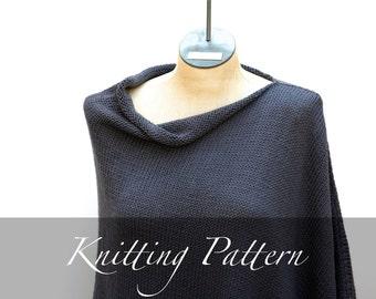 Knitting Pattern - Seaside Poncho - Women Poncho Pattern - Knit Pattern - Cotton Poncho - Asymmetrical Poncho - Boho Poncho - Amy LaRoux
