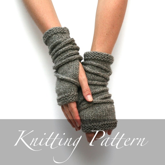 Knitting Pattern Wrap Gauntlets Fingerless Gloves Pattern Etsy
