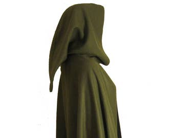 Olive GREEN Hooded Cape Cloak, Halloween Costume, Medieval Cosplay, Hobbit Cloak, LARP  LOTR Archer Elf, Adult Child Toddler, Role Playing