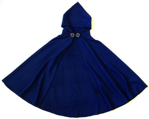 READY to SHIP Adult Kids/' Halloween Cape BLUE Long Fleece Hooded Cloak